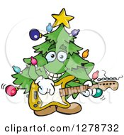 Clipart Of A Happy Christmas Tree Playing An Electric Guitar Royalty Free Vector Illustration