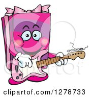 Clipart Of A Happy Pink Gift Character Playing An Electric Guitar Royalty Free Vector Illustration