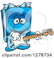Clipart Of A Happy Blue Gift Character Playing An Electric Guitar Royalty Free Vector Illustration