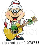 Clipart Of A Happy Mrs Claus Playing Christmas Music On An Acoustic Guitar Royalty Free Vector Illustration