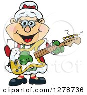 Clipart Of A Happy Mrs Claus Playing Christmas Music On An Electric Guitar Royalty Free Vector Illustration