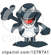Clipart Of A Happy Orca Killer Whale Holding A Thumb Up Royalty Free Vector Illustration