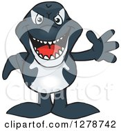 Clipart Of A Happy Orca Killer Whale Waving Royalty Free Vector Illustration