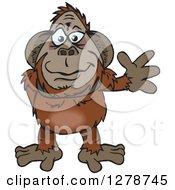 Clipart Of A Happy Orangutan Waving Royalty Free Vector Illustration by Dennis Holmes Designs