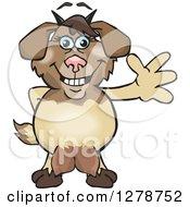 Clipart Of A Happy Nanny Goat Waving Royalty Free Vector Illustration