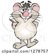 Clipart Of A Happy Mouse Standing Royalty Free Vector Illustration
