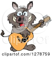 Clipart Of A Happy Boar Playing An Acoustic Guitar Royalty Free Vector Illustration by Dennis Holmes Designs