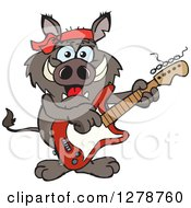 Clipart Of A Happy Boar Playing An Electric Guitar Royalty Free Vector Illustration by Dennis Holmes Designs