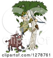Clipart Of A Boar Chasing A Scared Male Hunter Into A Tree Royalty Free Vector Illustration by Dennis Holmes Designs