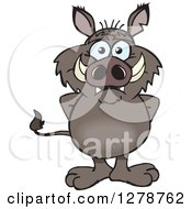 Clipart Of A Happy Boar Standing Royalty Free Vector Illustration by Dennis Holmes Designs