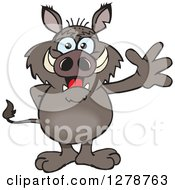 Clipart Of A Friendly Waving Boar Standing Royalty Free Vector Illustration by Dennis Holmes Designs