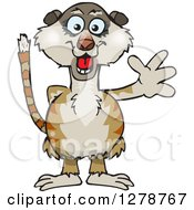 Clipart Of A Happy Meerkat Waving Royalty Free Vector Illustration by Dennis Holmes Designs
