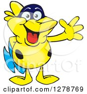 Clipart Of A Happy Yellow Marine Fish Waving Royalty Free Vector Illustration by Dennis Holmes Designs