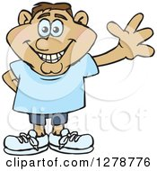 Clipart Of A Happy Smiling Casual Hispanic Man Waving Royalty Free Vector Illustration