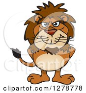 Clipart Of A Happy Male Lion Standing Royalty Free Vector Illustration