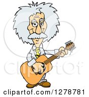 Clipart Of A Happy Albert Einstein Scientist Musician Playing A Guitar Royalty Free Vector Illustration by Dennis Holmes Designs