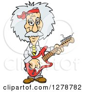 Clipart Of A Happy Albert Einstein Scientist Musician Playing An Electric Guitar Royalty Free Vector Illustration by Dennis Holmes Designs