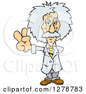 Clipart Of A Senior Scientist Albert Einstein Gesturing Peace Royalty Free Vector Illustration by Dennis Holmes Designs