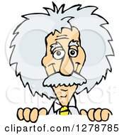 Clipart Of A Scientist Albert Einstein Smiling And Peeking Over A Sign Royalty Free Vector Illustration by Dennis Holmes Designs