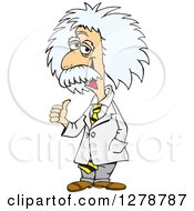 Clipart Of A Senior Scientist Albert Einstein Giving A Thumb Up Royalty Free Vector Illustration by Dennis Holmes Designs