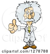 Clipart Of A Scientist Albert Einstein Giving A Thumb Up Royalty Free Vector Illustration by Dennis Holmes Designs