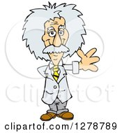 Clipart Of A Senior Scientist Albert Einstein Waving Royalty Free Vector Illustration by Dennis Holmes Designs