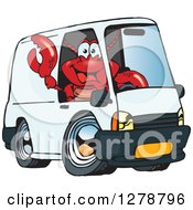 Lobster Waving And Driving A Delivery Van