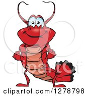 Clipart Of A Happy Lobster Royalty Free Vector Illustration by Dennis Holmes Designs