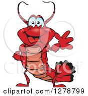 Clipart Of A Happy Lobster Waving Royalty Free Vector Illustration by Dennis Holmes Designs