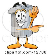 Clipart Picture Of A Garbage Can Mascot Cartoon Character Waving And Pointing
