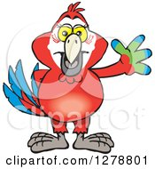 Clipart Of A Happy Scarlet Macaw Parrot Waving Royalty Free Vector Illustration by Dennis Holmes Designs