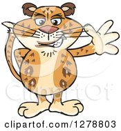 Clipart Of A Leopard Big Cat Waving Royalty Free Vector Illustration