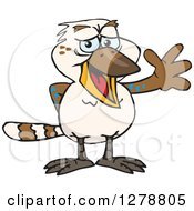 Clipart Of A Happy Kookaburra Bird Waving Royalty Free Vector Illustration by Dennis Holmes Designs