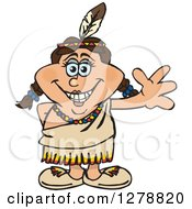 Clipart Of A Happy Native American Indian Woman Waving Royalty Free Vector Illustration