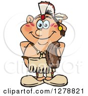 Clipart Of A Happy Native American Indian Man Royalty Free Vector Illustration