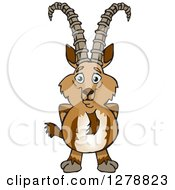 Clipart Of A Happy Ibex Goat Royalty Free Vector Illustration by Dennis Holmes Designs
