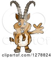 Clipart Of A Happy Ibex Goat Waving Royalty Free Vector Illustration by Dennis Holmes Designs