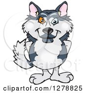 Clipart Of A Happy Husky Dog Standing Royalty Free Vector Illustration