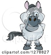 Clipart Of A Happy Gray Horse Royalty Free Vector Illustration by Dennis Holmes Designs