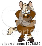 Clipart Of A Happy Brown Horse Standing Royalty Free Vector Illustration by Dennis Holmes Designs
