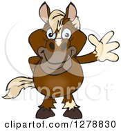 Clipart Of A Happy Brown Horse Waving Royalty Free Vector Illustration by Dennis Holmes Designs