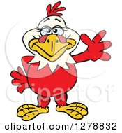 Clipart Of A Happy Hen Waving Royalty Free Vector Illustration by Dennis Holmes Designs