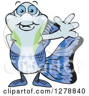 Clipart Of A Happy Guppy Fish Waving Royalty Free Vector Illustration by Dennis Holmes Designs
