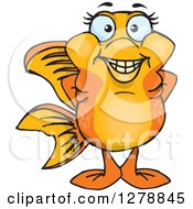 Clipart Of A Happy Fancy Goldfish Royalty Free Vector Illustration