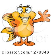 Clipart Of A Happy Fancy Goldfish Waving Royalty Free Vector Illustration by Dennis Holmes Designs