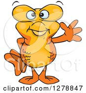 Clipart Of A Happy Goldfish Waving Royalty Free Vector Illustration
