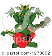 Green Dragon Playing An Acoustic Guitar