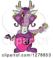 Purple Dragon Playing An Acoustic Guitar