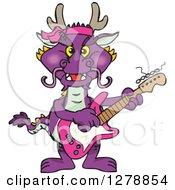 Purple Dragon Playing An Electric Guitar
