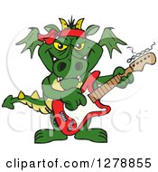 Green Dragon Playing An Electric Guitar